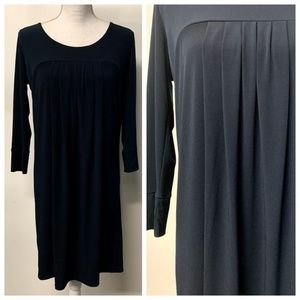 New York & Co Navy Blue Pleated Front Shift Dress